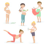 Mulheres gravidas, cuidados médicos, nutrição, comprando Ilustração do vetor ilustração royalty free
