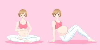 Mulheres gravidas dos desenhos animados da beleza Imagem de Stock