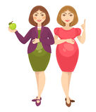 Mulheres gravidas que esperam o bebê do nascimento Imagens de Stock