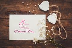 Mulheres internacionais felizes dia, o 8 de março, cumprimento da celebração fotografia de stock royalty free