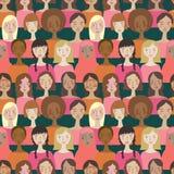 Mulheres minimalistic simples do vetor na cor de Pantone do fundo sem emenda do teste padrão do ano ilustração do vetor