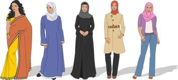 Mulheres muçulmanas bonitas ilustração stock