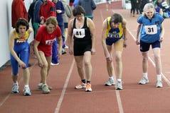 Mulheres não identificadas nos 1500 medidores da raça Foto de Stock Royalty Free