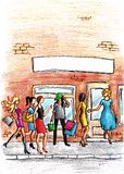 Mulheres na frente da loja ou do salão de beleza Fotos de Stock