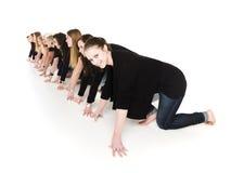 Mulheres na posição de começo Fotos de Stock