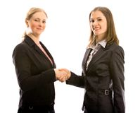Mulheres na reunião de negócio. Isolado no branco Fotografia de Stock Royalty Free