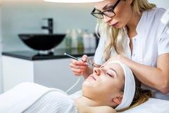 Mulheres no armário da cosmetologia O Cosmetologist está fazendo o procedimento para a moça Foto de Stock Royalty Free