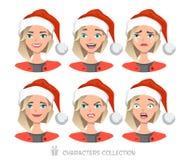 Mulheres no chapéu de Santa com emoções diferentes Fotografia de Stock
