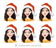 Mulheres no chapéu de Santa com emoções diferentes Fotografia de Stock Royalty Free