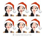 Mulheres no chapéu de Santa com emoções diferentes Imagens de Stock