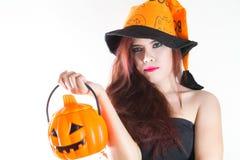 Mulheres no conceito o Dia das Bruxas Imagens de Stock Royalty Free