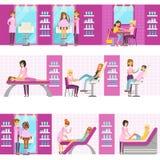 Mulheres no salão de beleza que apreciam tratamentos do cabelo e do Skincare e procedimentos cosméticos com Cosmetologists profis ilustração stock