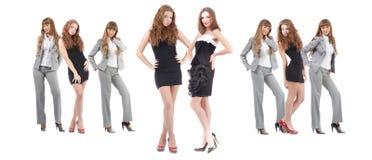 Mulheres novas do grupo sobre o branco Foto de Stock Royalty Free