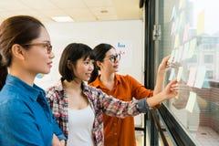Mulheres novas do trabalhador de escritório que olham a janela de vidro foto de stock royalty free