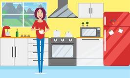 Mulheres novas na cozinha Vetor, projeto liso ilustração do vetor