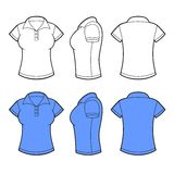 Mulheres Polo Shirt Template Parte dianteira, parte traseira e lado Foto de Stock