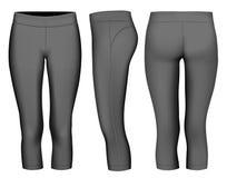 Mulheres 3-4 por muito tempo calças justas pretas ilustração do vetor