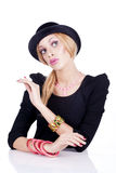 Mulheres que actuam como uma boneca do barbie Fotografia de Stock Royalty Free