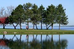 Mulheres que andam através do parque na mola Fotos de Stock Royalty Free