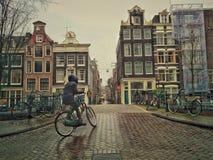 Mulheres que biking em Amsterdão Imagem de Stock