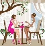 Mulheres que comem o café ilustração royalty free