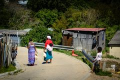 Mulheres que levam galinhas em um distrito em Knysna imagens de stock