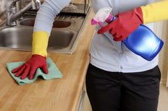 Mulheres que limpam a casa imagens de stock royalty free