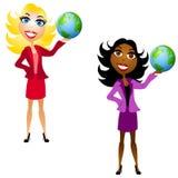 Mulheres que mantêm a terra disponivel ilustração stock