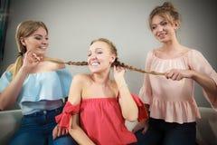 Mulheres que mostram sua trança do melhor amigo foto de stock royalty free