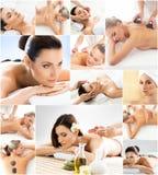Mulheres que obtêm o tratamento dos termas Colo da saúde, da medicina e da recreação fotografia de stock royalty free