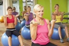 Mulheres que participam na classe da aptidão do Gym imagem de stock royalty free