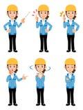 Mulheres que trabalham na pose diferente do casaco azul 6 do canteiro de obras ilustração do vetor