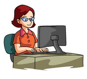 Mulheres que usam o computador ilustração do vetor