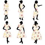 Mulheres retros nos vestidos ilustração royalty free
