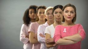 Mulheres sérias que vestem as fitas cor-de-rosa da conscientização do câncer da mama que estão na fileira vídeos de arquivo