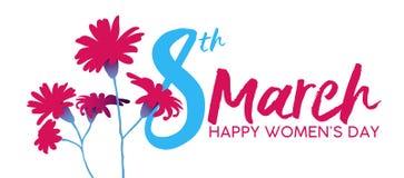 Mulheres ` s dia cartão feliz da flor do 8 de março ilustração stock