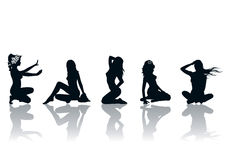 Mulheres Silhoutte Imagens de Stock Royalty Free