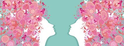 Mulheres simples da fita do rosa da silhueta do câncer da mama ilustração royalty free