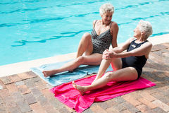 Mulheres superiores que interagem um com o otro ao relaxar Foto de Stock Royalty Free