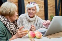 Mulheres superiores que usam o portátil fotografia de stock royalty free