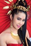 Mulheres tailandesas com guarda-chuva vermelho Foto de Stock Royalty Free