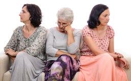 Mulheres tristes do conflito da família Imagem de Stock Royalty Free