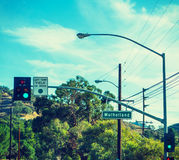 Mulholland drive sign in Malibu Stock Images