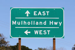 Mulholland Hwy Sign in Los Angeles Stock Images