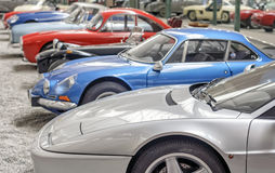 MULHOUSE – AUGUST 08:  Vintage car display at the Cité de l'Automobile: Motor Show on August 08, 2015 in Mulhouse Stock Images
