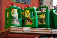Closeup of natural herbicide in rack in gardening supermarket. Mulhouse - France - 28 December 2017 - closeup of natural herbicide in rack in gardening Royalty Free Stock Photography