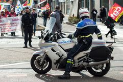Biker of the national police making the traffic, during a demonstration of public service. Mulhouse - France - 19 March  2019 - biker of the national police stock image