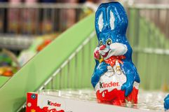 Closeup of chocolate rabbit from Kinder brand at the supermarket stock photos