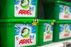 Closeup of detergent box with capsules from Ariel brand at Super U supermarket. Mulhouse - France - 3 October 2018 - closeup of detergent box with capsules from royalty free stock images