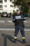 Municipal police man standing in the street. Mulhouse - France - 7 October 2018 - municipal police man standing in the street stock photos